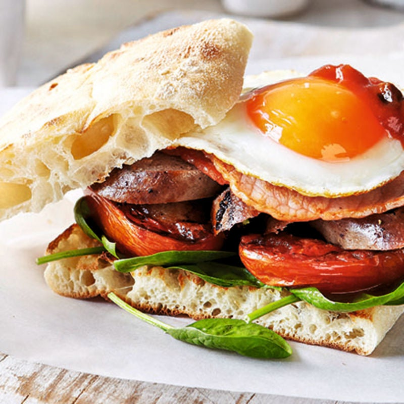 Photo of Bacon, egg & sausage burger by WW