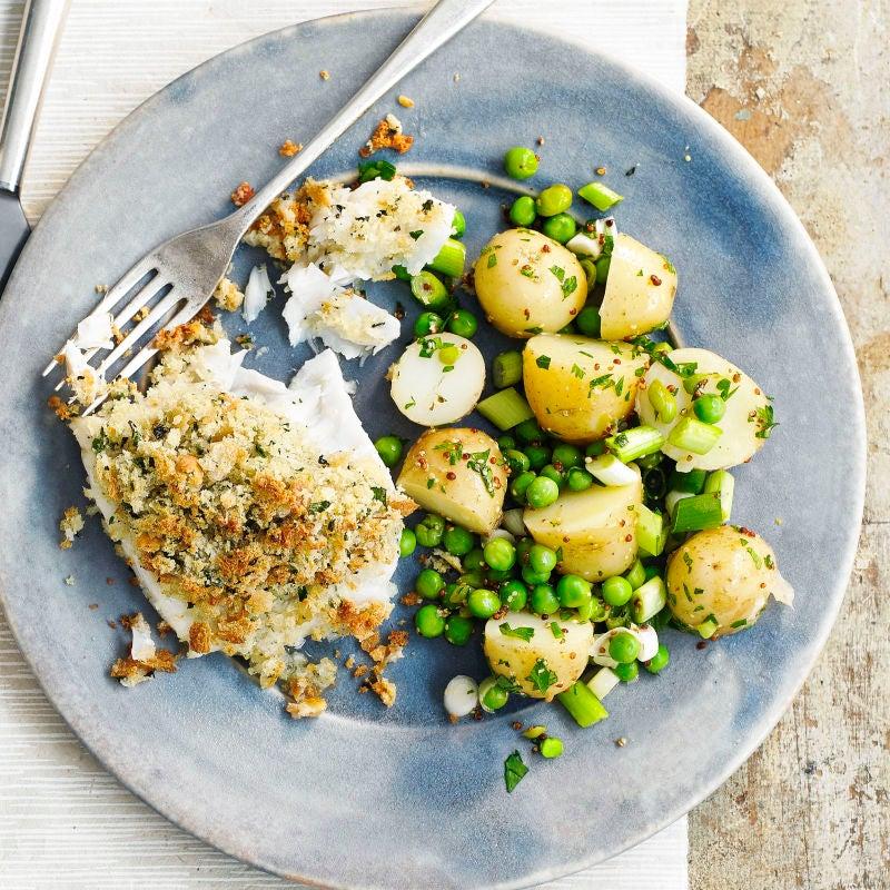 Photo of Crumbed cod with warm potato salad by WW