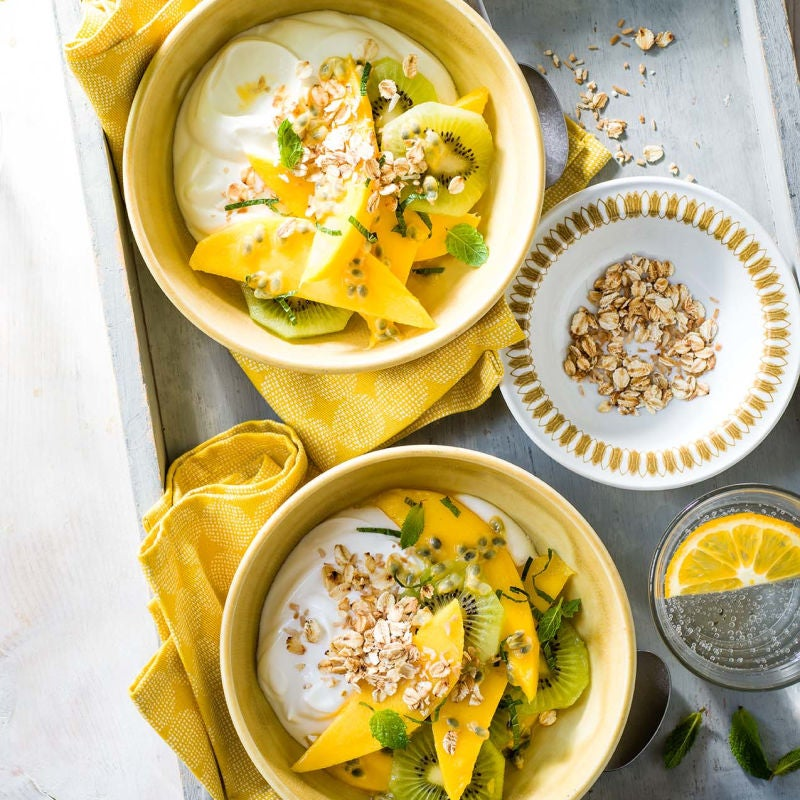Photo of Tropical fruit salad with oats & yogurt by WW
