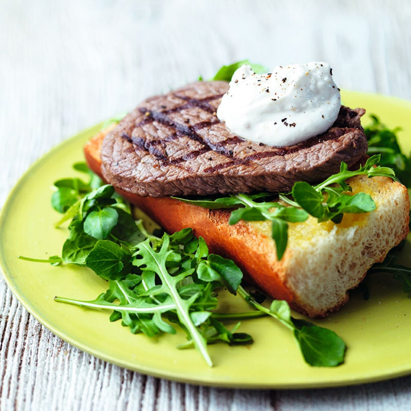 Photo of Garlic bread steak with horseradish sauce by WW