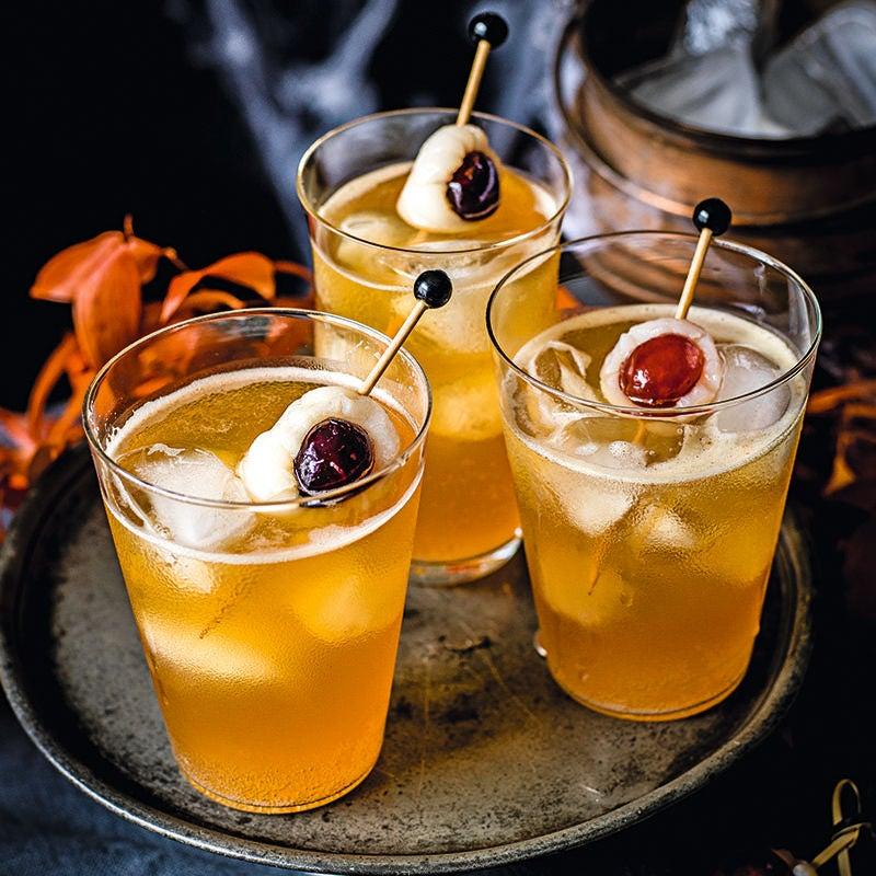 Photo of Dark 'n' stormy Halloween cocktail drink by WW
