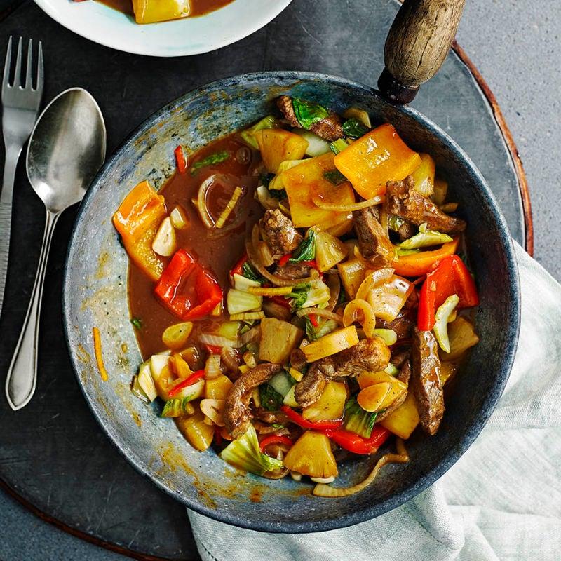 Photo of Quick pineapple & pork stir-fry by WW