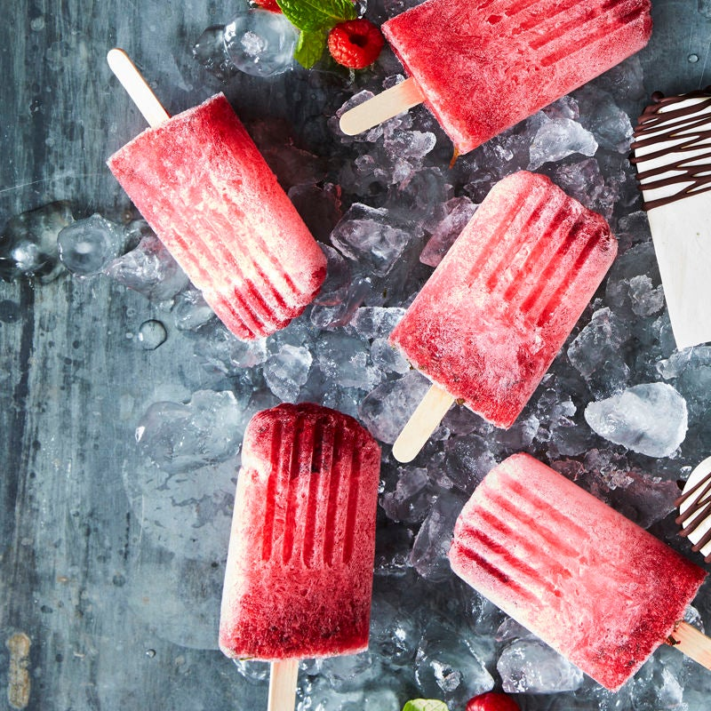 Photo of Minty raspberry & lime crush ice lollies by WW