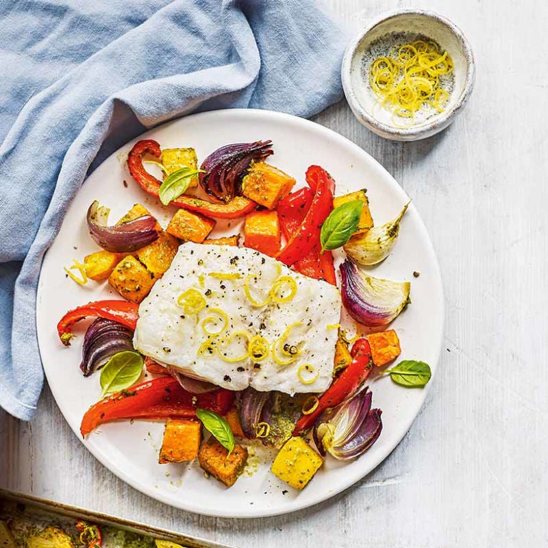 Photo of Cod with pesto roasted vegetables by WW