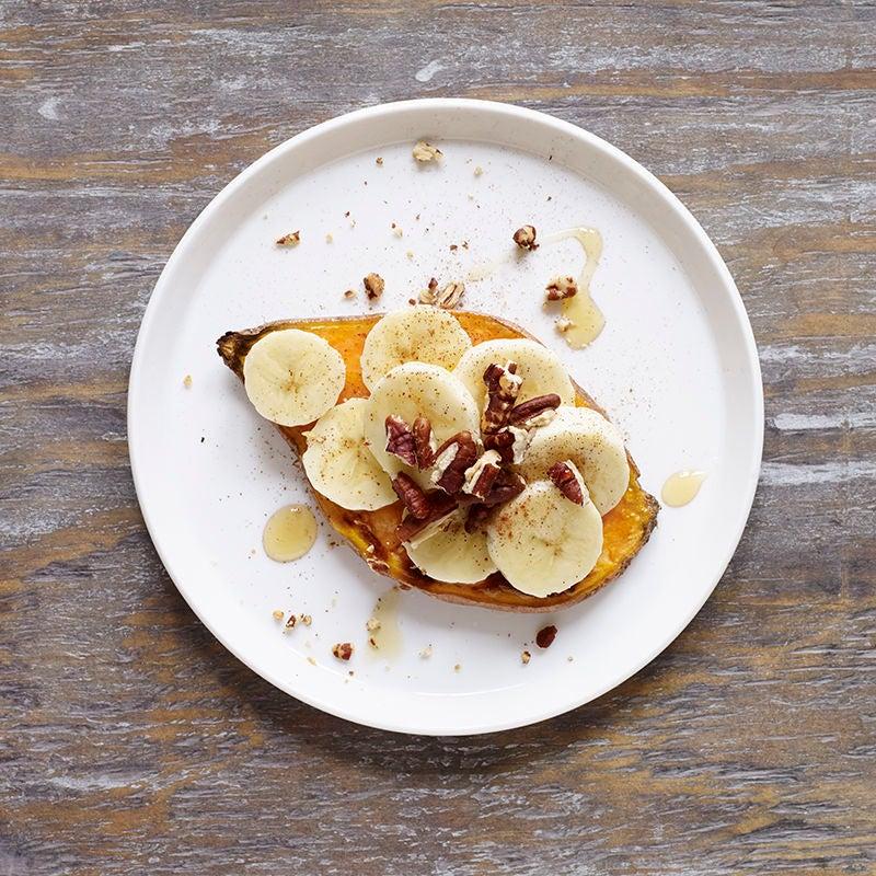 Photo of Sweet potato toast with banana, honey & pecans by WW