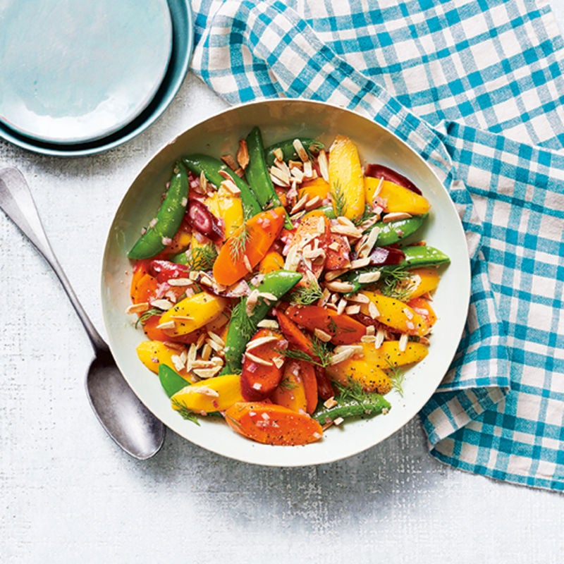 Photo of Rainbow carrots & sugar snaps with sherry-dill vinaigrette by WW