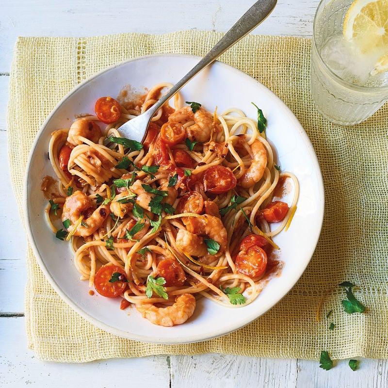 Photo of Spaghetti with chilli, cherry tomatoes & prawns by WW