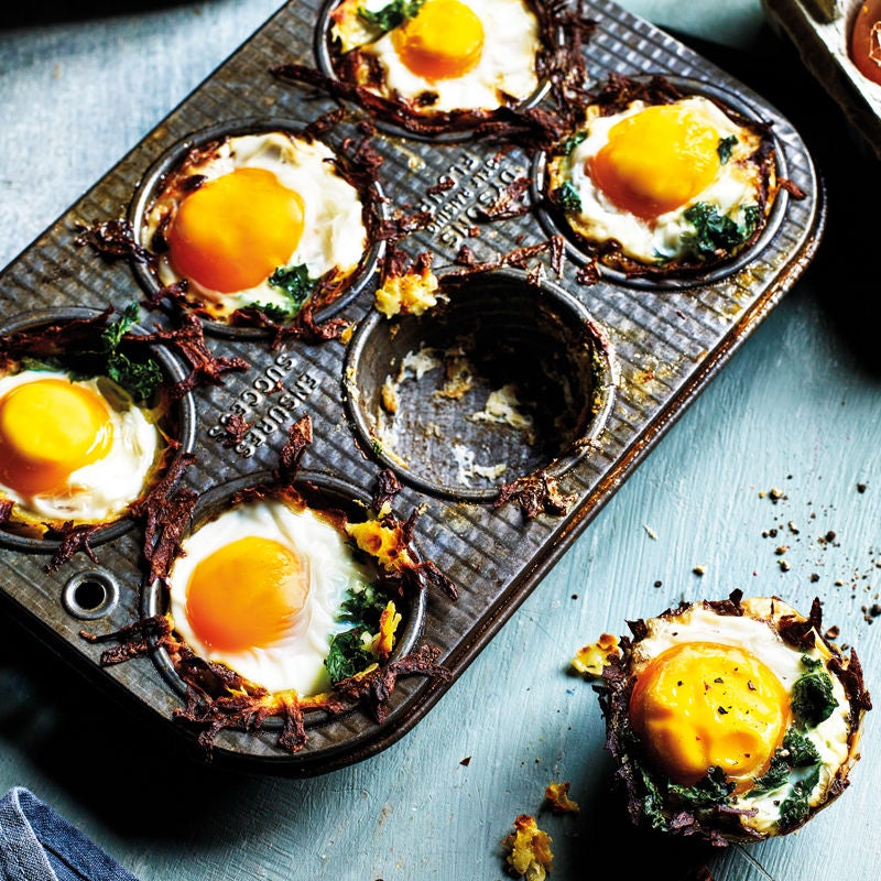Photo of Potato nests with baked eggs & kale by WW