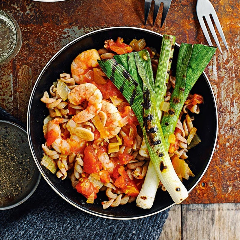 Photo of Spelt fusilli with tomatoes, prawns & leeks by WW