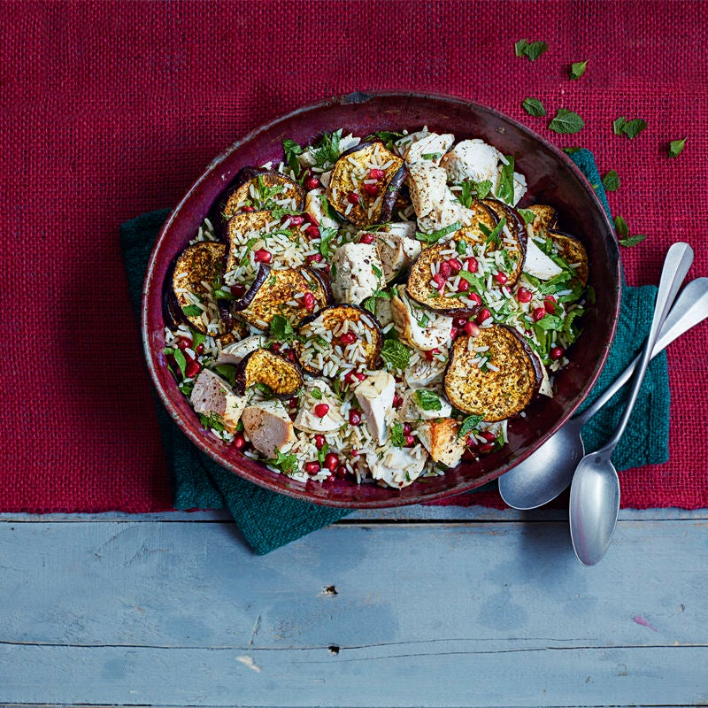 Photo of North African-style warm rice salad with spicy roasted aubergine by WW