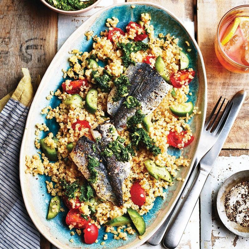 Photo of Pan-fried sardines with bulgur wheat  pesto by WW
