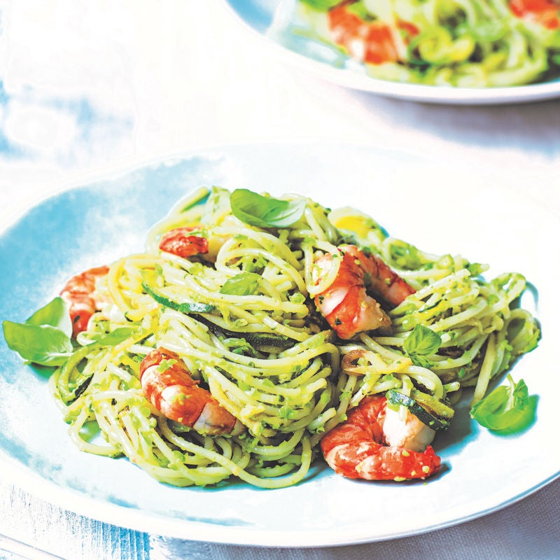 Photo of Spaghetti with courgette, prawns & pea pesto by WW