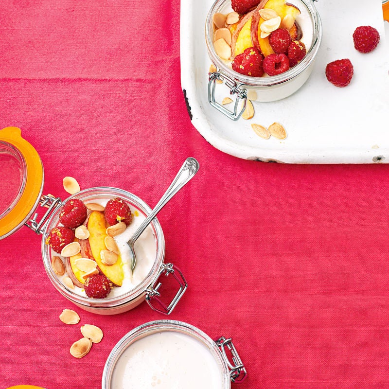 Photo of Almond panna cotta with peaches & raspberries by WW