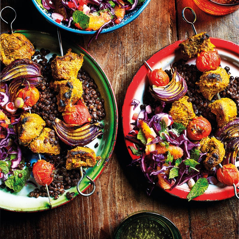 Photo of Lamb tikka kebabs with lentils & spicy coleslaw by WW