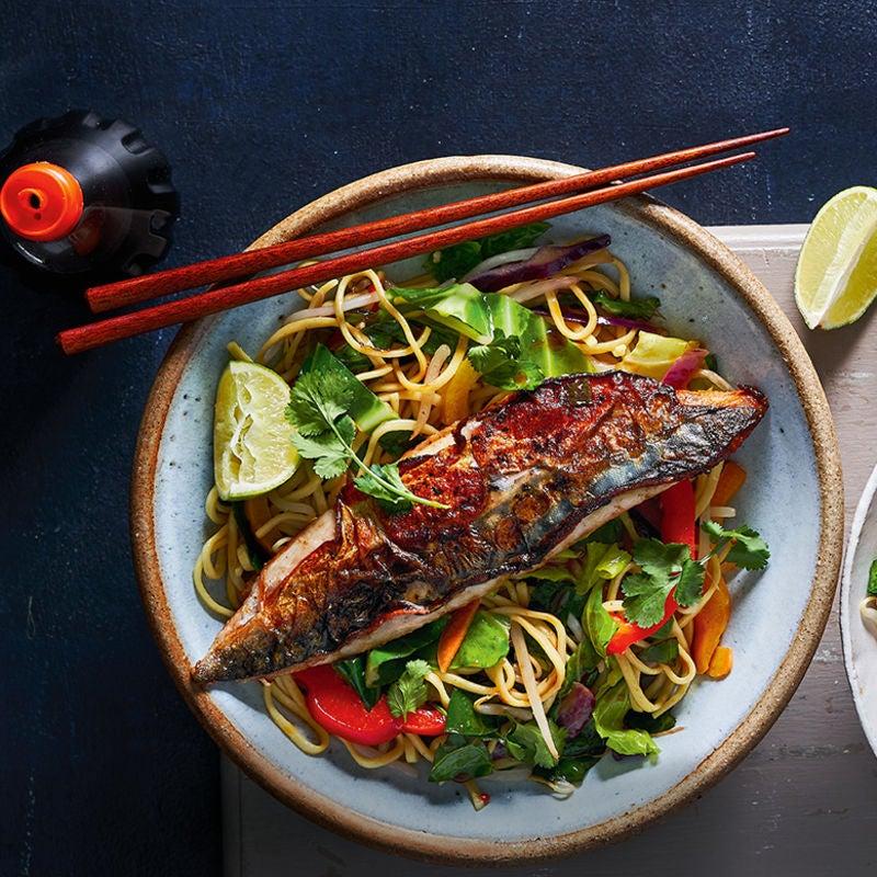 Photo of Teriyaki mackerel with Asian veg & noodles by WW