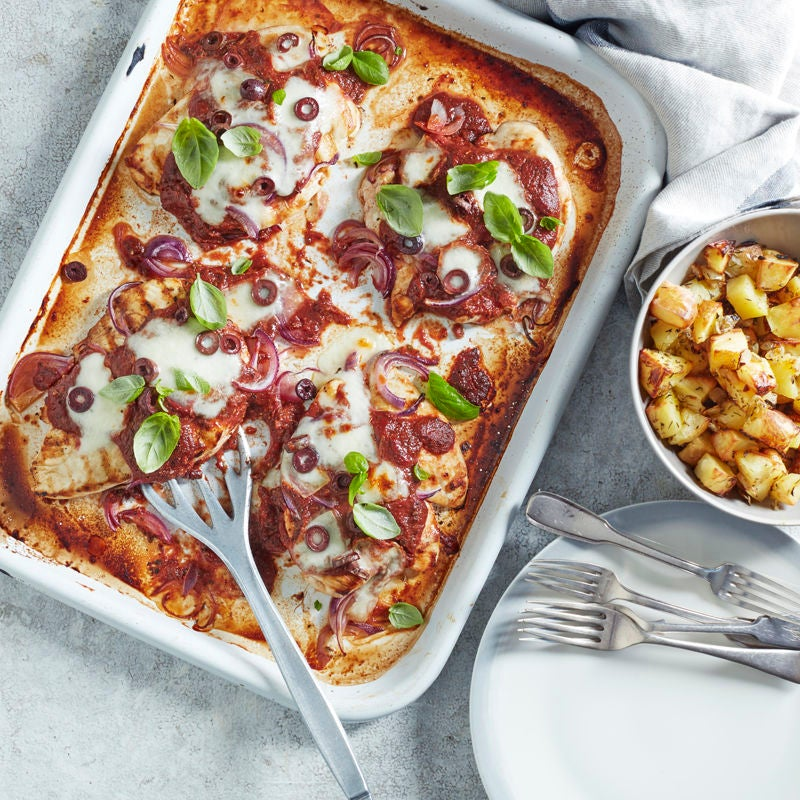 Photo of Pizza-chicken traybake with parmentier potatoes by WW