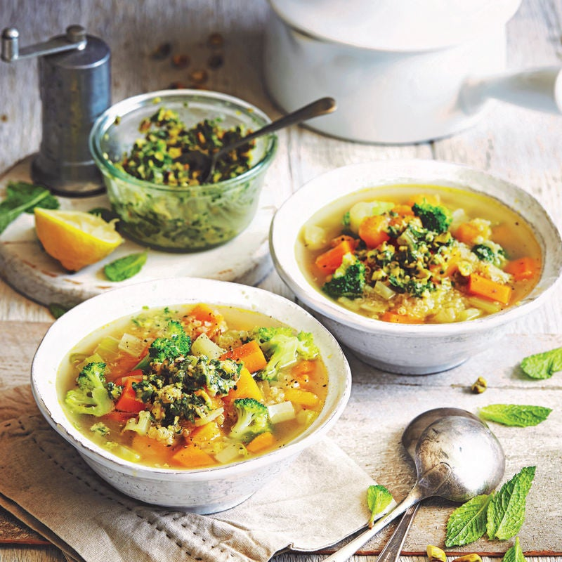 Photo of Quinoa & vegetable soup with mint pesto by WW