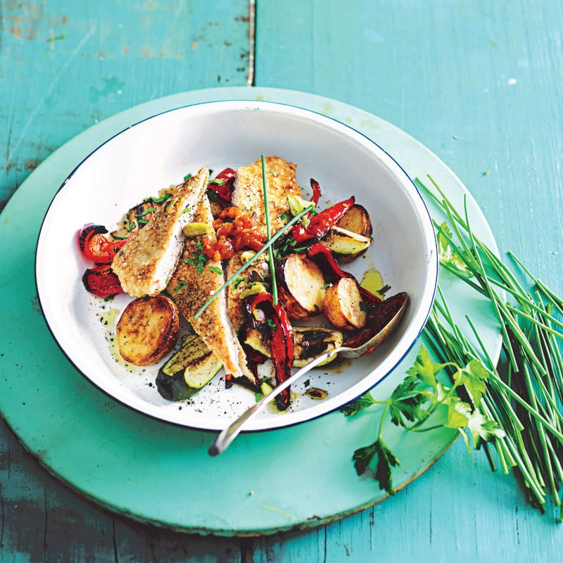 Photo of Pistachio & herb crumbed chicken with quick roasted veg by WW