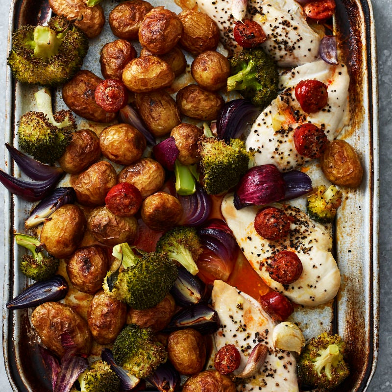 Photo of Chicken, chorizo, potato & broccoli traybake by WW