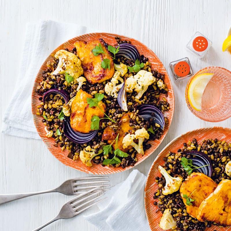 Photo of Baked harissa halloumi with lentil & cauliflower salad by WW