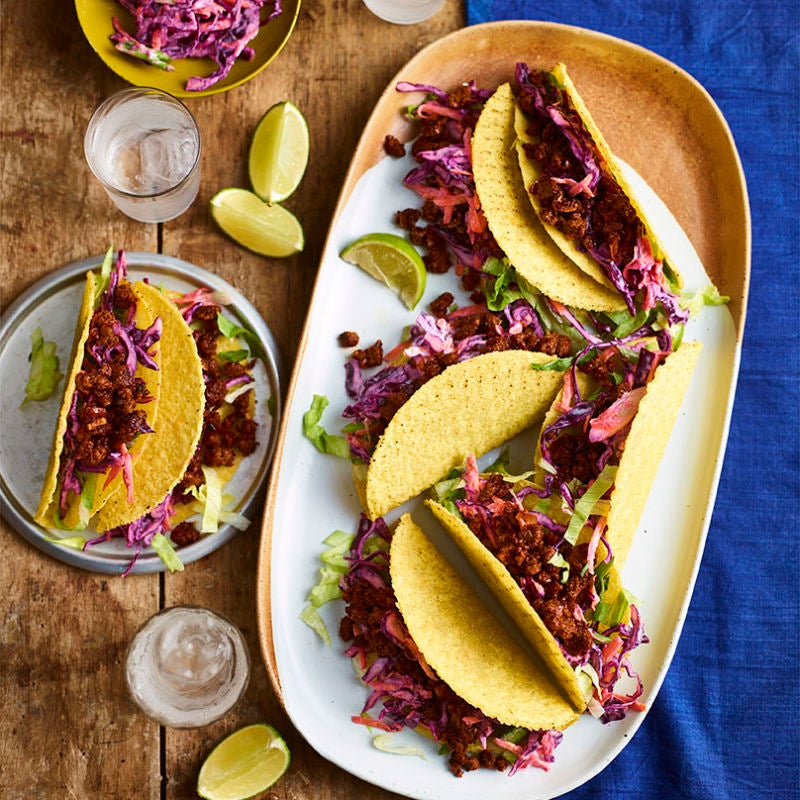 Photo of Quorn tacos with red cabbage slaw by WW