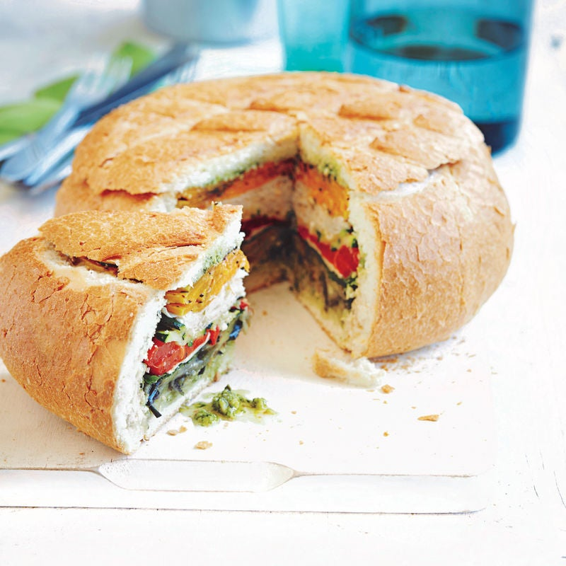 Photo of Turkey, pesto & grilled vegetable picnic loaf by WW