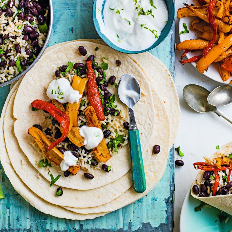 Photo of Roasted pepper burritos with black beans, rice & lime yogurt by WW