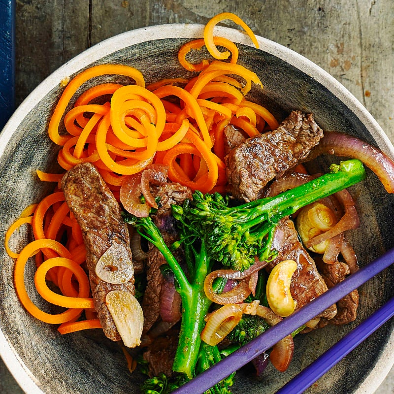 Photo of Spicy stir-fried beef & broccoli with carrot noodles by WW