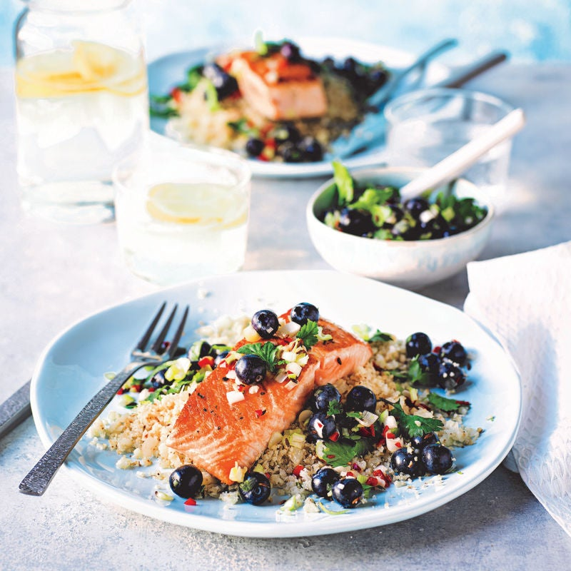 Photo of Pan-fried salmon with a fresh blueberry relish & cauli 'rice' by WW