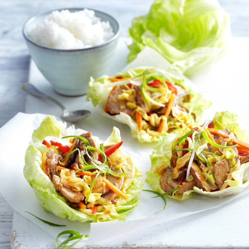 Photo of Moo shu pork in lettuce leaves by WW
