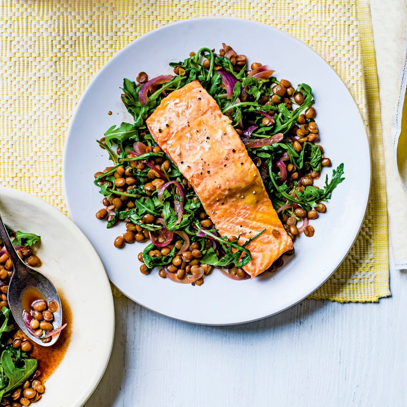 Photo of Mustard glazed salmon with lentils by WW