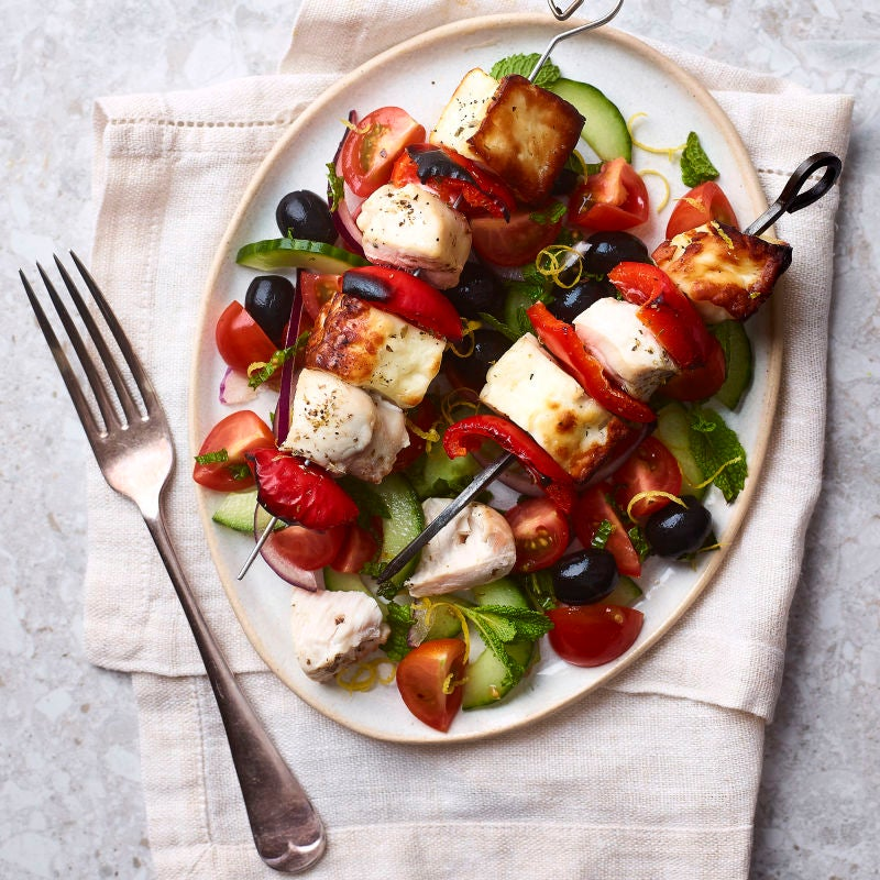 Photo of Chicken & halloumi skewers with Greek salad by WW