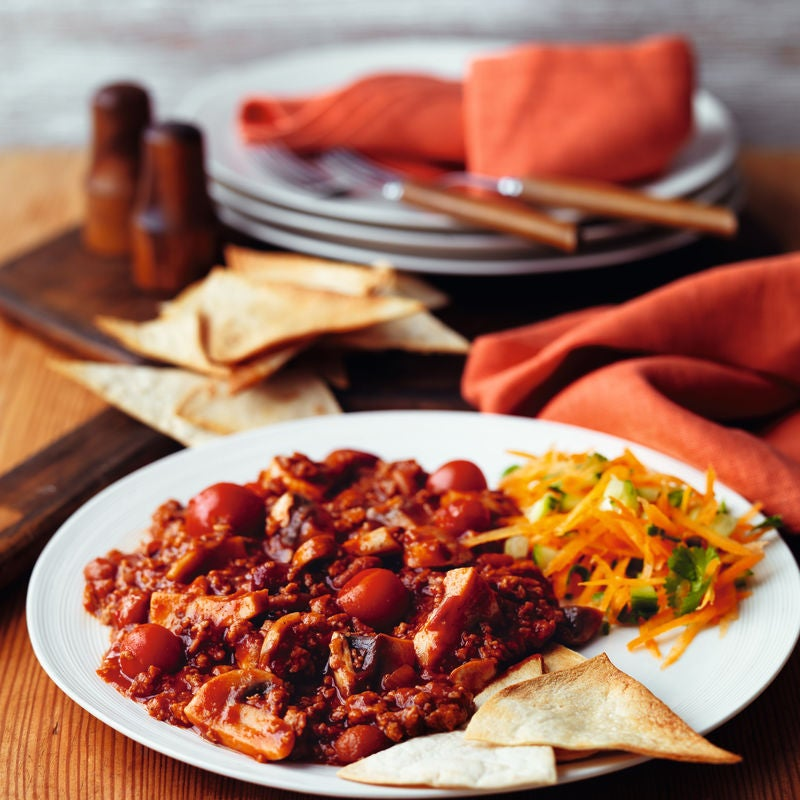 Photo of Veggie chilli with baked tortilla chips & rice by WW