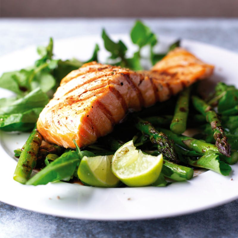 Photo of Seared salmon & asparagus salad with balsamic drizzle by WW