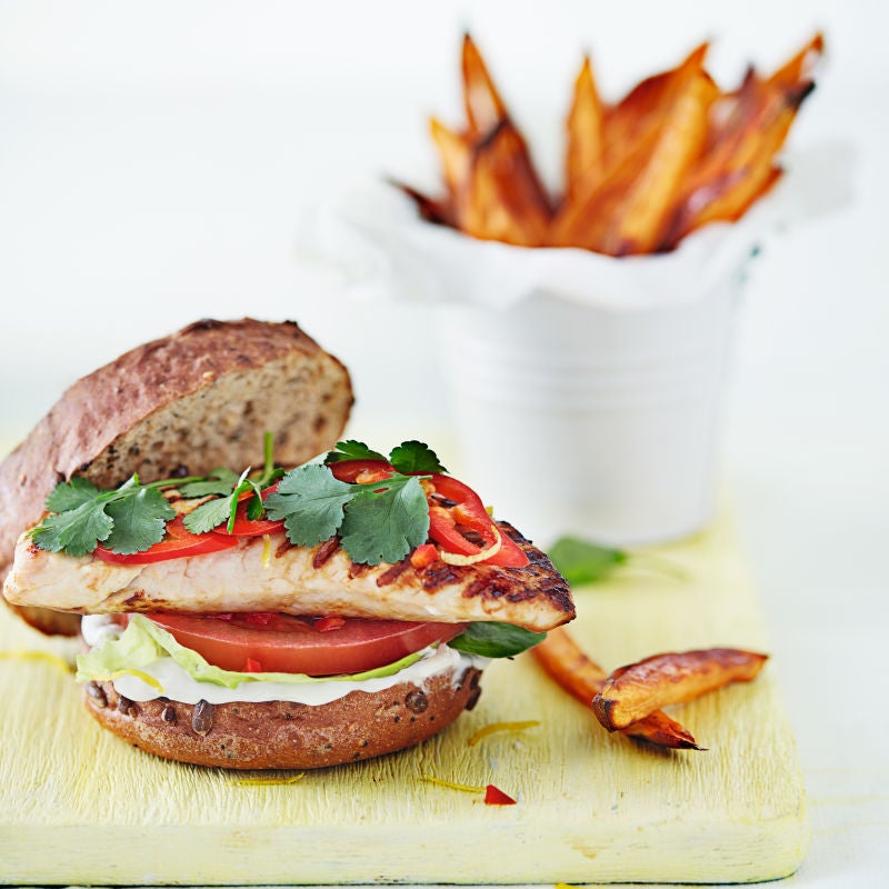 Photo of Turkey burger with sweet potato chips by WW