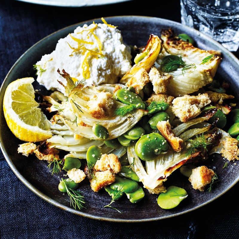 Photo of Roasted fennel, broad bean & lemon ricotta salad by WW