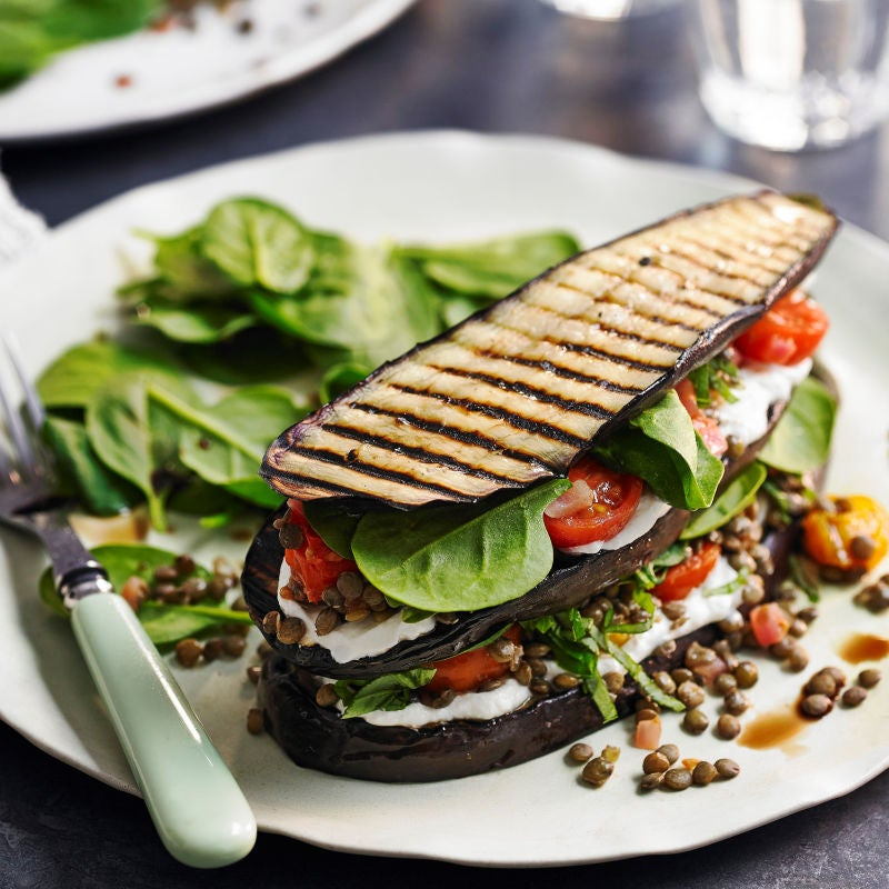 Photo of Aubergine, spinach & lentil stacks by WW