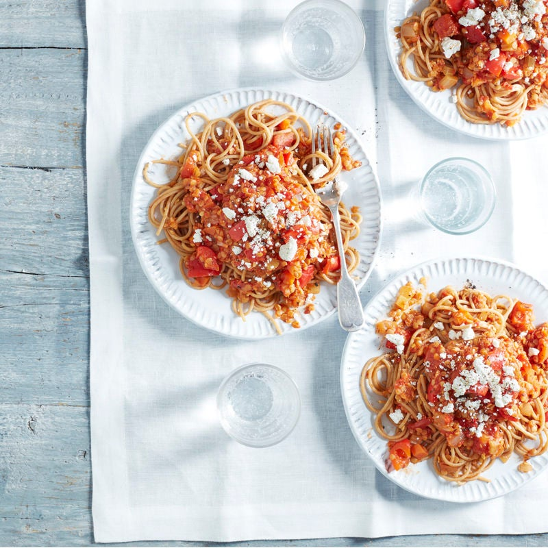 Photo of Spaghetti with lentil ragu & feta by WW