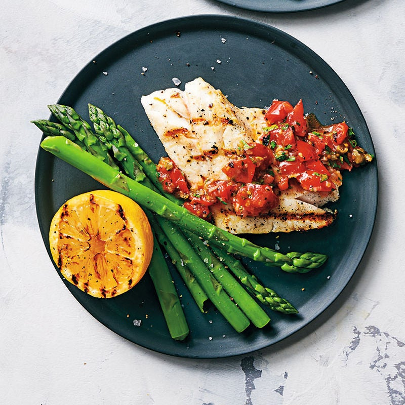 Photo of Griddled sea bass with lemons & tomato vinaigrette by WW