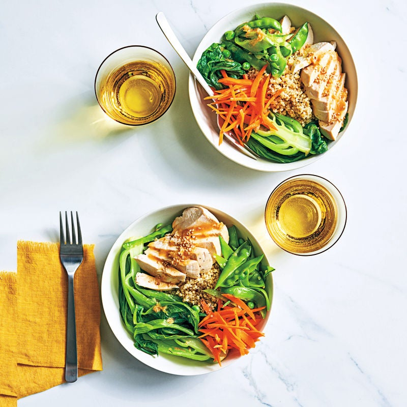 Photo of Chicken pak choi bowls with miso dressing by WW