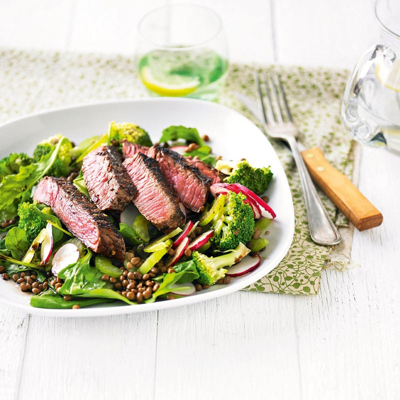 Photo of Spice-rubbed steak with green lentil salad by WW