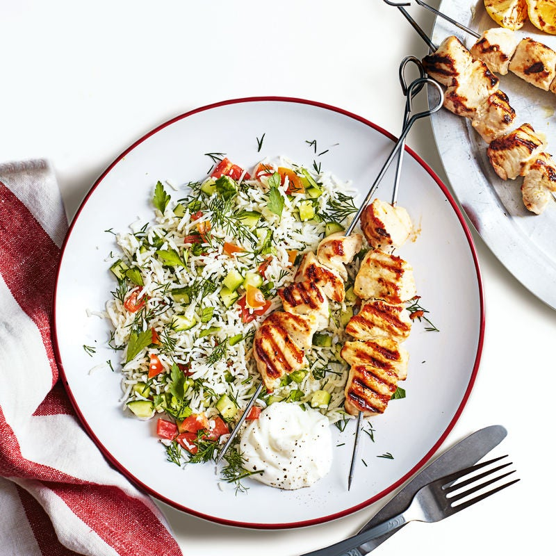 Photo of Zesty chicken skewers with rice salad by WW