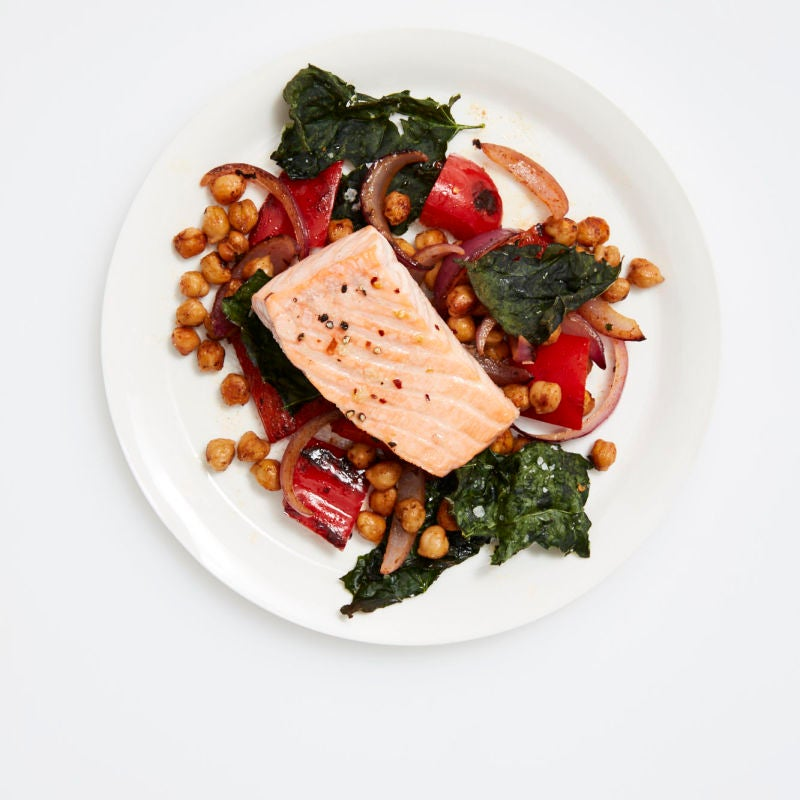 Photo of Roasted salmon with chickpeas & red peppers by WW