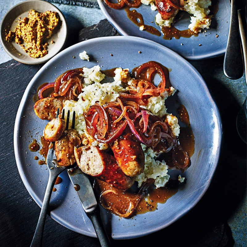 Photo of Sausages & cauliflower mash with caramelised onion gravy by WW