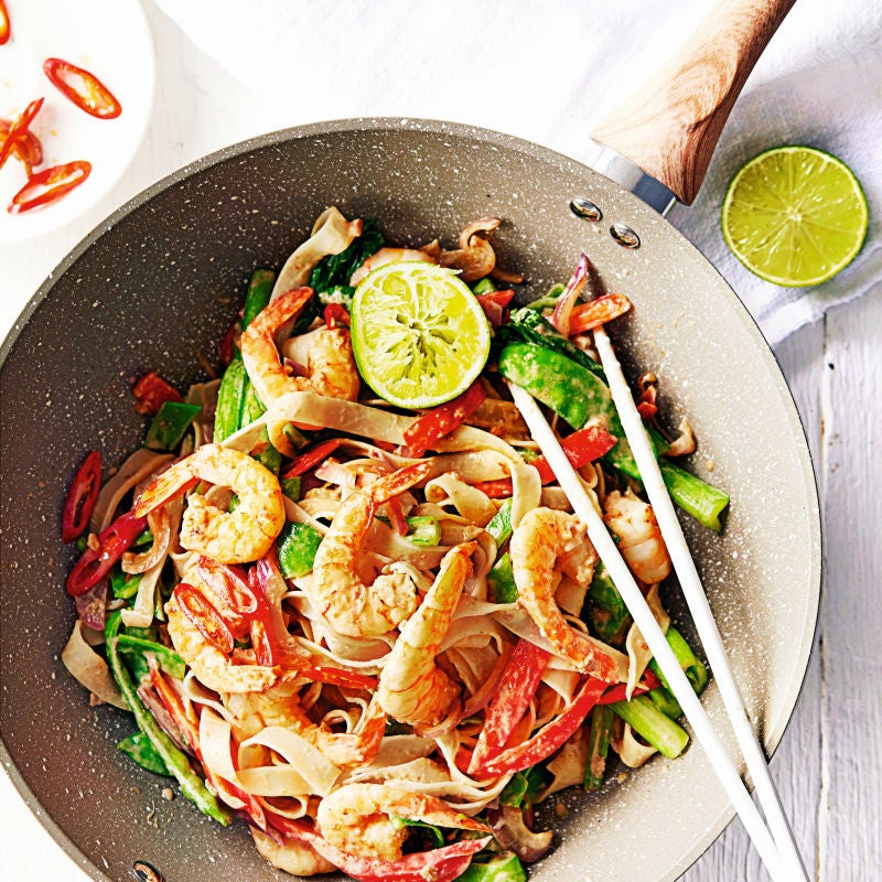 Photo of Satay prawns & rice noodle stir-fry by WW