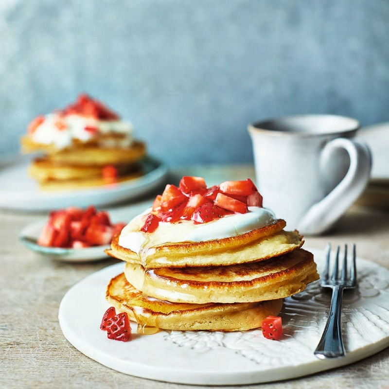 Photo of Butter bean pancakes with fresh strawberries by WW