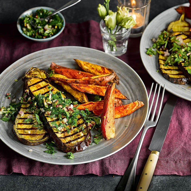 Photo of Aubergine steaks with chimichurri & spiced sweet potato wedges by WW