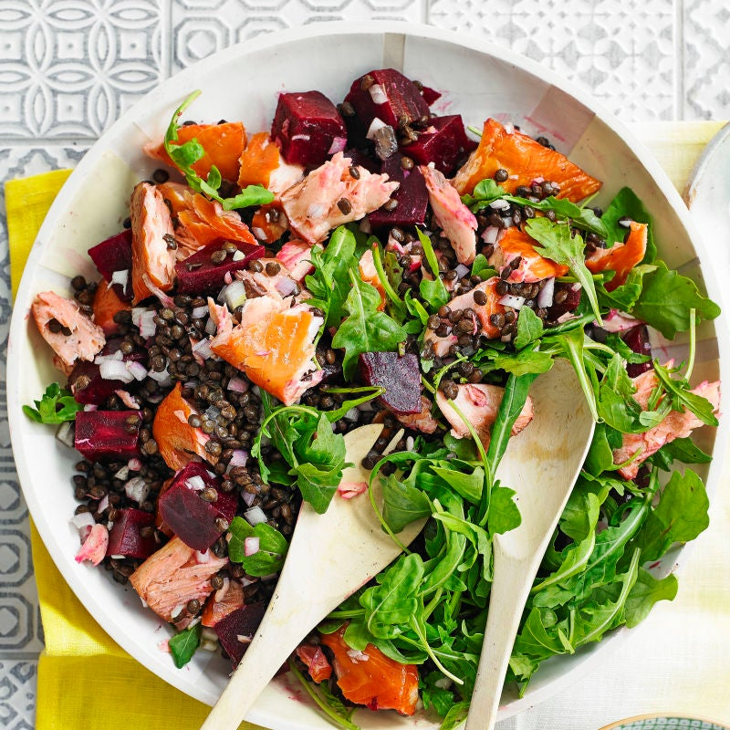 Photo of Warm lentil salad with hot-smoked salmon by WW