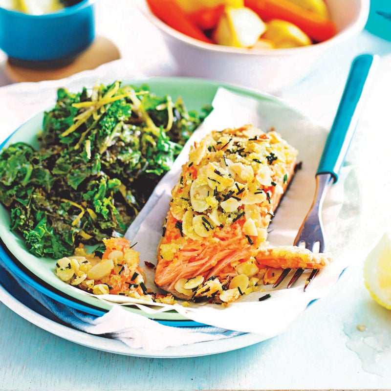 Photo of Almond-crusted salmon with lemon kale by WW