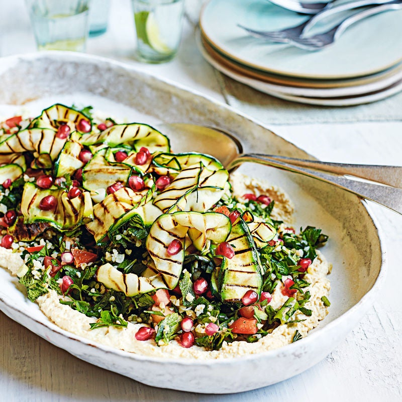 Photo of Bulgur wheat tabbouleh with roasted courgette & houmous by WW